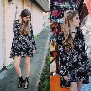 Free people floral foil print swing tunic dress